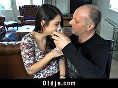 Hot youthful mistress dominates old guy in the attick