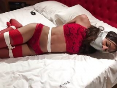 My lady-boy mate ligatured and gagged 2