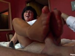 George and besides his friend's mom taboo session - footjob hand besidesjob