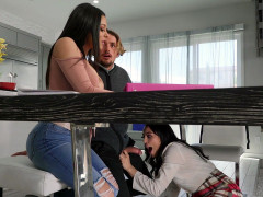 Vanessa Sky sneakily is sucking Tyler Nixon's cock under the table