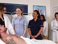 Dominant nurses giving blowjob naked patients dick