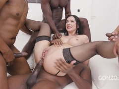 Lady Gang interracial double penetration with 4 BBC