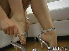 homemade footjob by a brunette segment vid 1