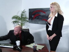 A blonde gets naked and besides fucked in the office