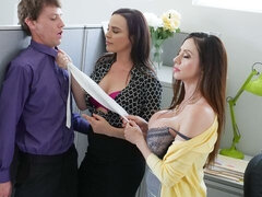 Two glamorous hotties Ariella Ferrera and Dana DeArmond fuck with a young man
