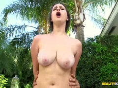 Big fat cock ruins a clean shaved but tight pussy outdoors