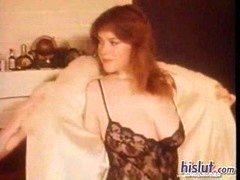 Look at the fantastic bra buddies on this hot little redhead who strips out of her lace teddy and plus gets those puffy nipples sucked on by he