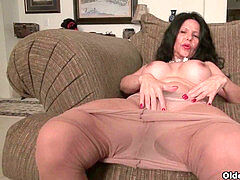 big-chested milf April White disrobes her wettened panties