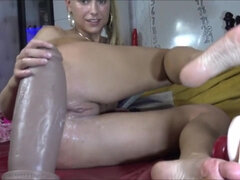 Dutch Girl Met Her Match? Gigantic Dildo Masturbation