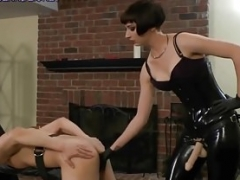 Femdom Mistresses bang and torment their bound male pigs