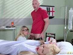 Slutty nurse with glasses seduces patient's hubby