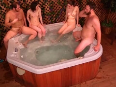 Amateur, blowjob, brown-haired, cum load, foursome, licking, sauna, tits
