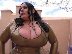 The Lovely Schokomaus in Rubber - Brunette mom with monster tits in outdoor cosplay