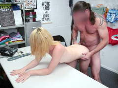 Madison Haze leaned on the desk and got her pussy pounded