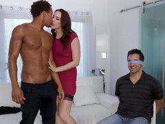 Chanel Preston ties up her boyfriend to the chair and fucks bbc in front of him
