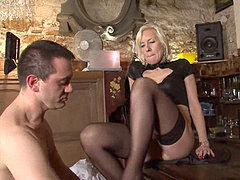 horny french mature hard sodomized in a bar w cum two gullet