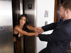 Flexible busty hottie Autumn Falls nicely fucked in the small elevator