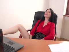 Secretary in a latex skirt undresses and bangs the boss