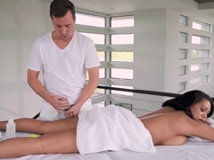 Katt Garcia is oiled up and fucked both holes by her masseur