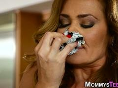 Panties sniffing stepmom