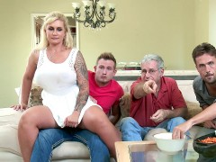 Ryan Conner sneakily fucks her stepson right beside her husband
