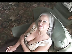 Fetching buxomy granny striptease