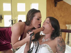 Bride Felicity Feline gets straponed by ex gf Abigail Mac in her wedding day