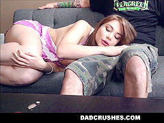 Horny Teen Step daughter Kayla Paris loves Her Step dad's Big Cock While He Pretend Sleeps