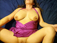 Purple II - Busty wife with great nipples pumps out while drilling giant dick