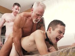 Mature gays fuck their boy slave hard in threesome