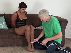 Ebony grown-up getting pinioned up & ball-gagged