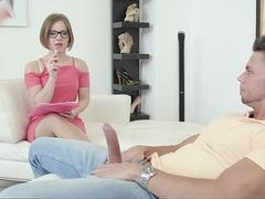 Soccer mom slut with glasses wants to test a young stud