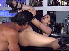 Latina caresses herself in toilet then gets fucked by bartender