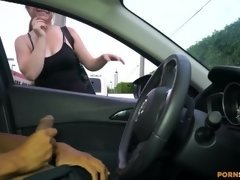 Sexually available mom gives me a handjob in public through window of car