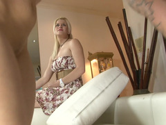 Blonde dame gets out of her dress and she gets a purple rod in her love hole