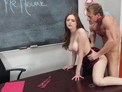 Bigtitted schoolgirl is naked by her teacher in the classroom