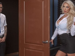 Glamorous high-heeled secretary Nicolette Shea fucks with her boss