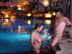 Behind The Scenes with busty boss wife Eva Davai teasing & fucking outdoors by the pool