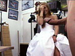 Hot babe pawns wedding dress and plus banged by pawn keeper