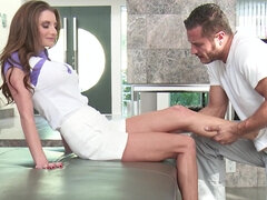 Oiled rubdown leads to hardcore sex with facial for Silvia Saige