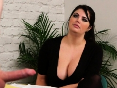 Bigtitted broad instructs guy to tug till cumshot