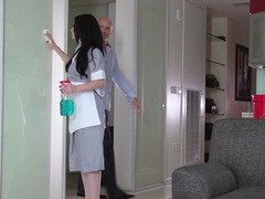 Nice-looking maid Veruca James fucked as she cleans house