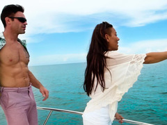 A black gal is getting fucked hard on the boat by a dude