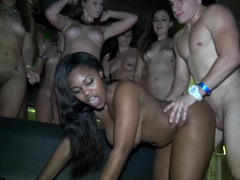 Lascivious party chicks fucked by large dicks at the night club