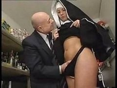 Nun & A Dirty Aged Fella Get To Playing Around With Her Twat