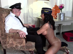 Aroused flight attendant fucked xxx by the big purple pole man