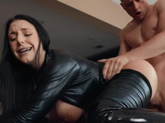 Big breasted pornstar in sexy black outfit getting fucked hard