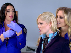 Three hot females are banging each and every supplementary in the office scene