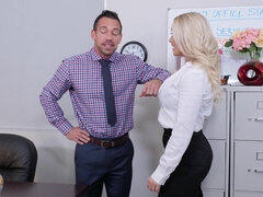 Ravishing blonde woman fucks her colleague in the office