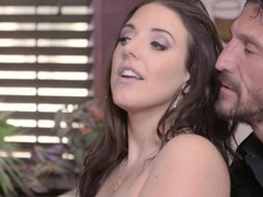 Angela White gives her love hole to handsome bartender